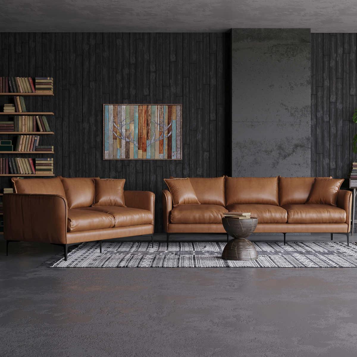 Misha Tan Top Grain Leather Sofa and Loveseat