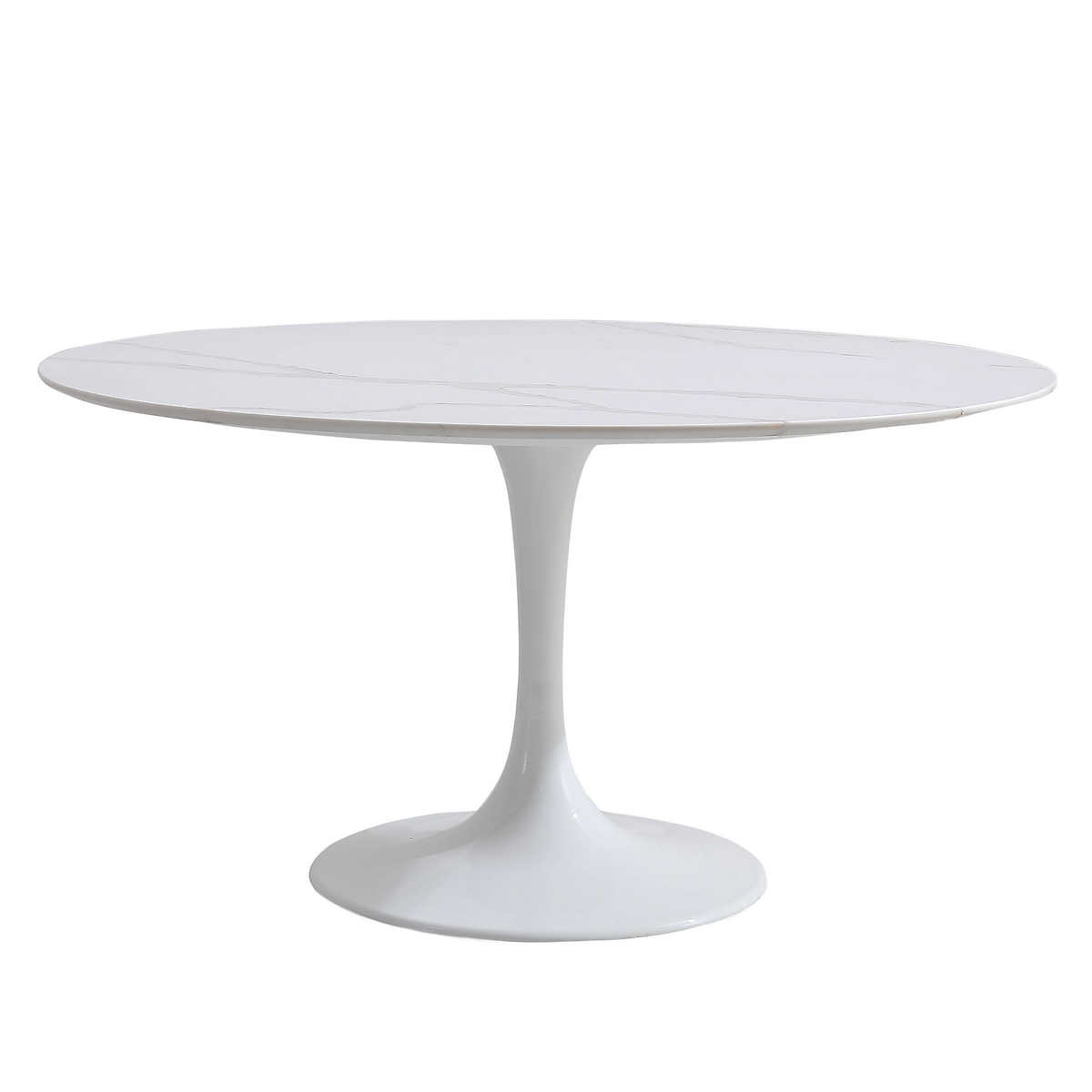 Orchid White Round Solid Quartz Table