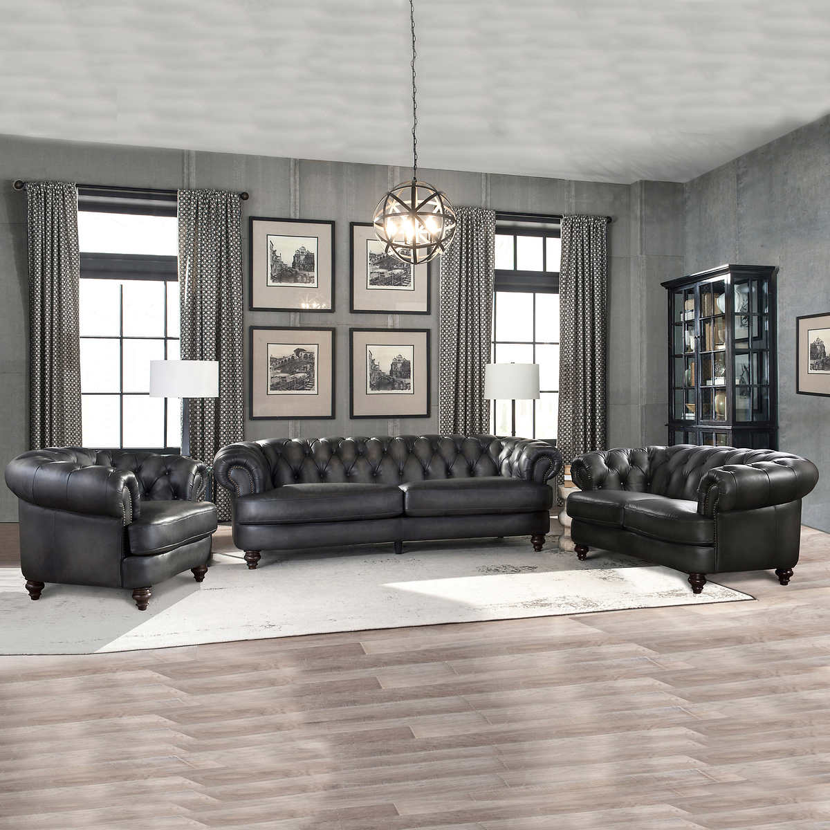 Glenbrook Grey 11-piece Top Grain Leather Living Room Set