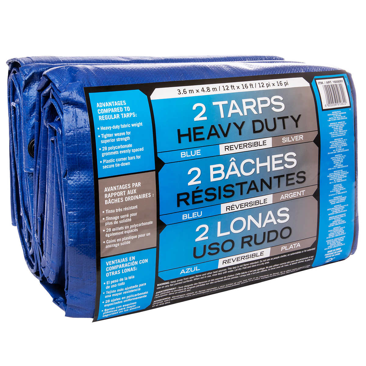 Blue/Silver 12 ft. × 16 ft. Tarp, 2-pack | Costco