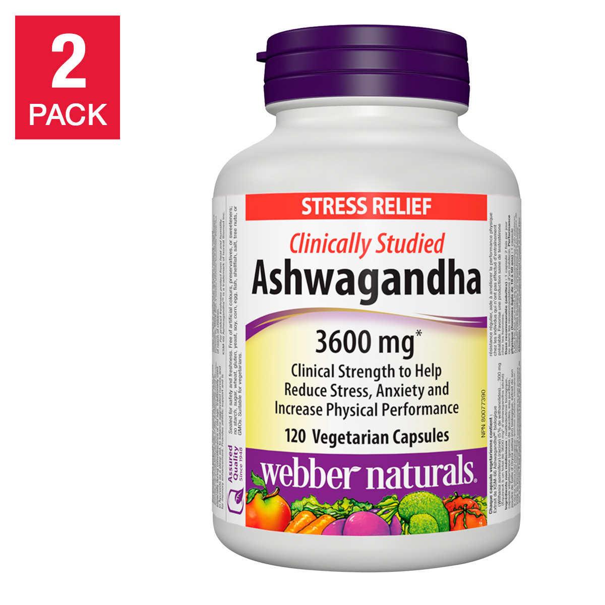 webber naturals Ashwagandha Vegetarian Capsules, 120-count, 2 ...