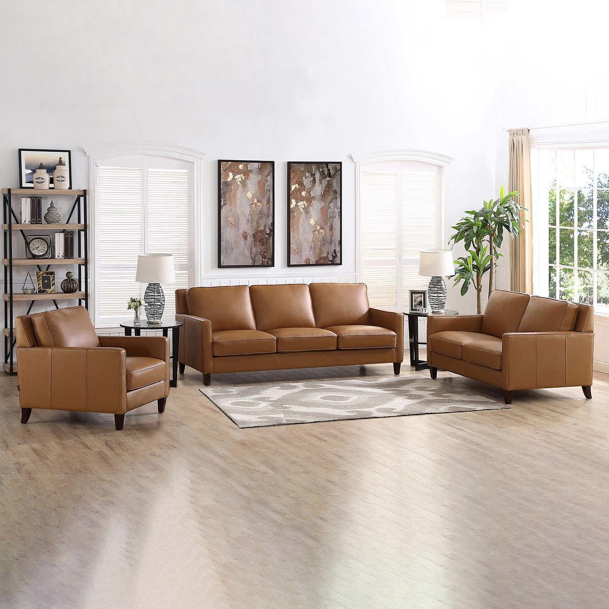 West Park Top Grain Leather Modern 3 Piece Living Room Set
