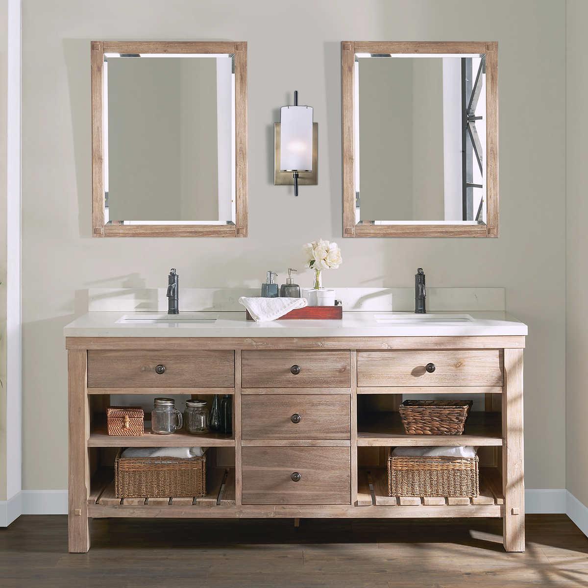Northridge Home Elbe Rustic 12 in. Double Bathroom Vanity