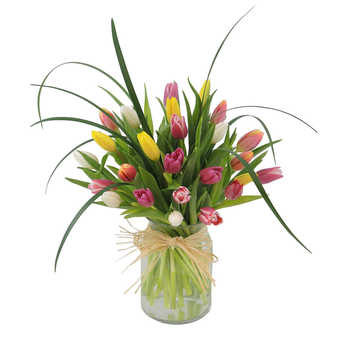25 Colourful Tulips In Vase