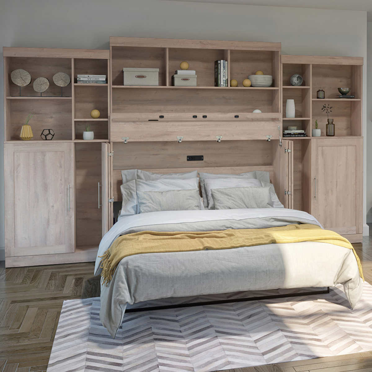 Bestar Illusion Brown Queen Cabinet Bed with Mattress, 11 Storage Cabinets  and Hutch