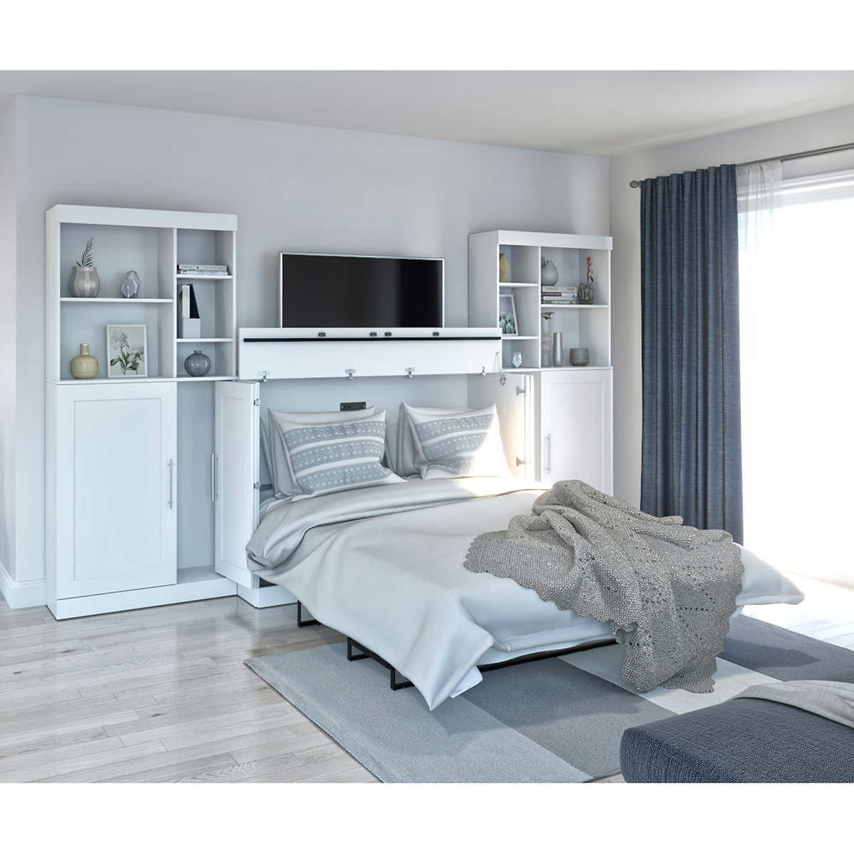 Bestar Illusion White Queen Cabinet Bed with Mattress and 5 Storage Cabinets