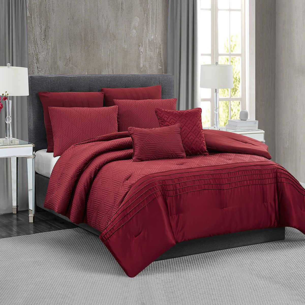 Fifth Avenue Lux Noelle 7 Piece Comforter Set Red