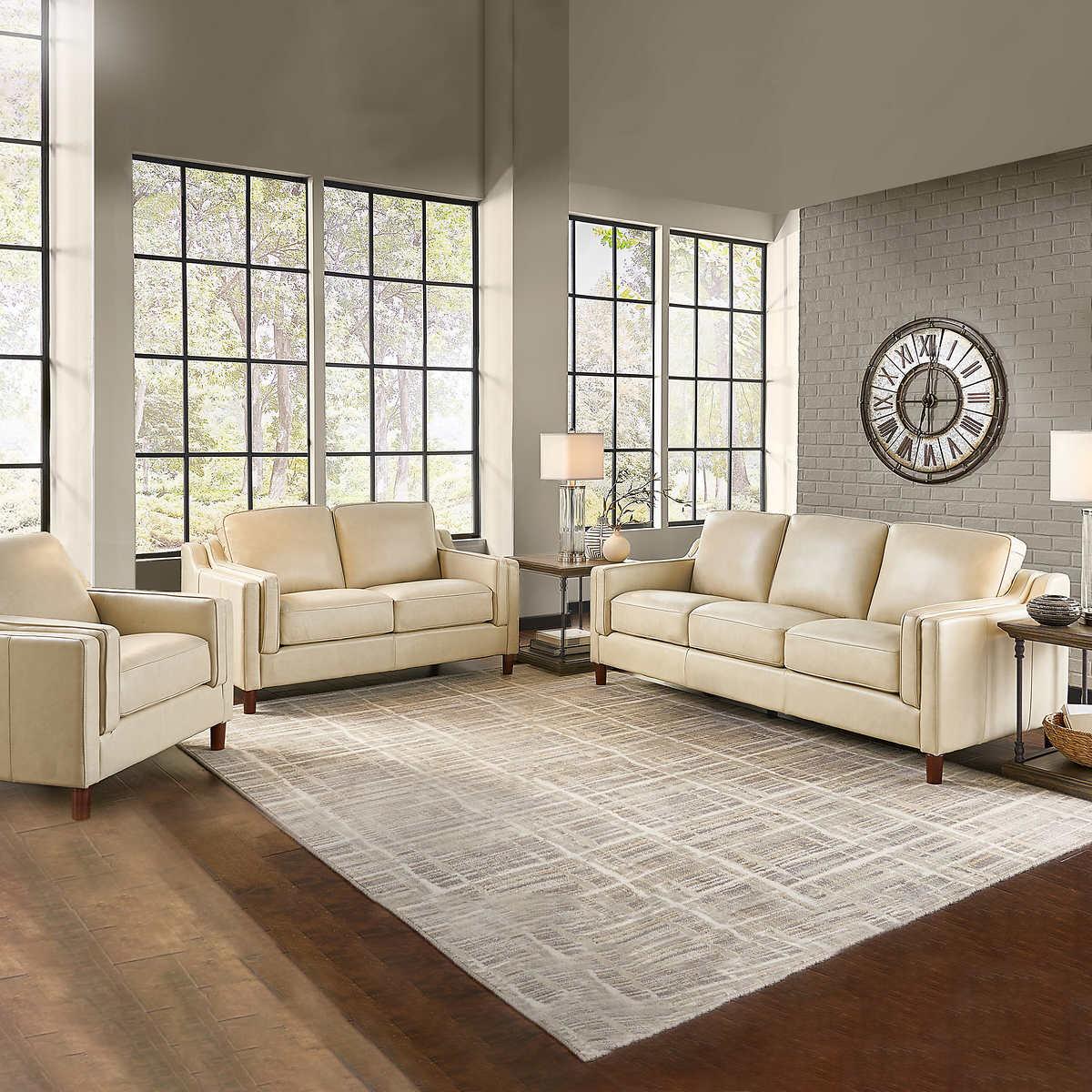 Prospera Home Dobson Modern Top Grain Leather 3 Piece Living Room Set