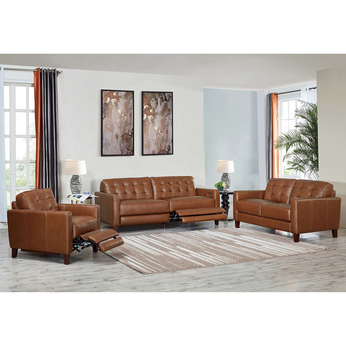 Art Origin Gordon Park Brown Modern Top Grain Leather 3 Piece Living Room Set