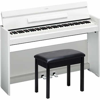 Yamaha ydp s52 wh arius digital piano with bb1 bench in black for Yamaha white piano bench