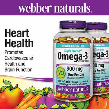 Webber naturals triple strength omega 3 900mg 2 x 180 for Viva naturals triple strength omega 3 fish oil