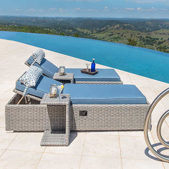 Niko Chaise Lounge Chair with Side Table in Slate by Sirio™