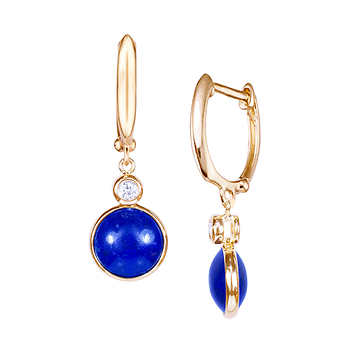 lapis and 14kt yellow gold earrings
