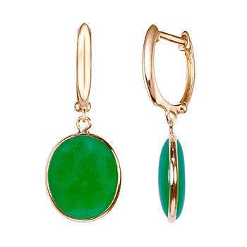 oval dyed green jade 14kt yellow gold bezel hoop earrings