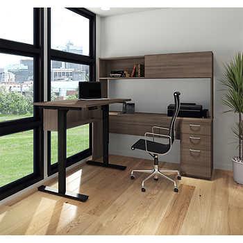 Bestar's Uptown Digital Height Adjustable L Shape Desk