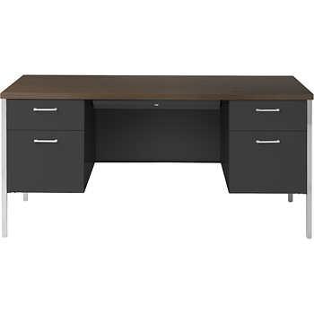 Alera Double Pedestal Steel Desk 60 Quot Walnut Amp Black