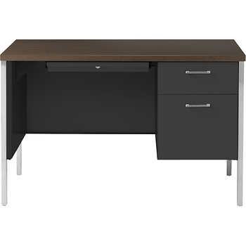Alera Single Pedestal Steel Desk 45 Quot Walnut Amp Black