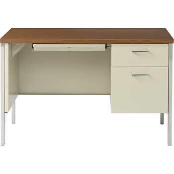 Alera Single Pedestal Steel Desk 45 Quot Oak Amp Putty