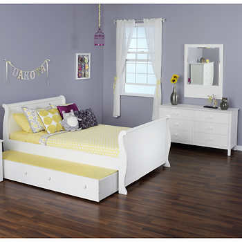 Olivia 3 piece Full Sleigh Trundle Bed Set