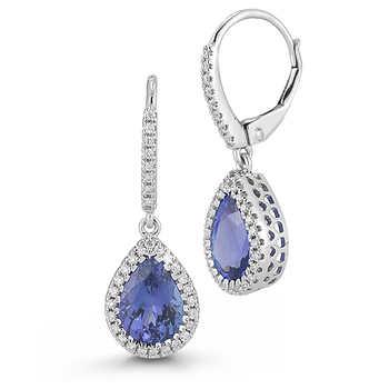 pear shape tanzanite earrings 14kt white gold