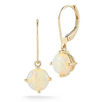 opal drop earrings 14kt yellow gold
