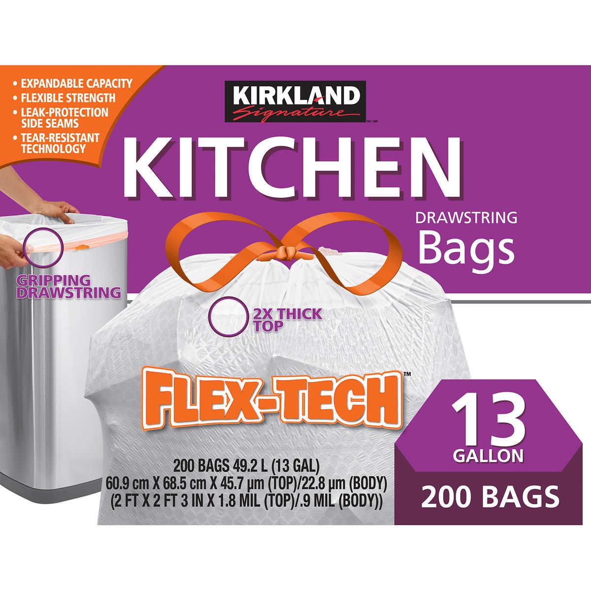 Kirkland Signature Flex Tech 13 Gallon Kitchen Trash Bag 200 Count Costco