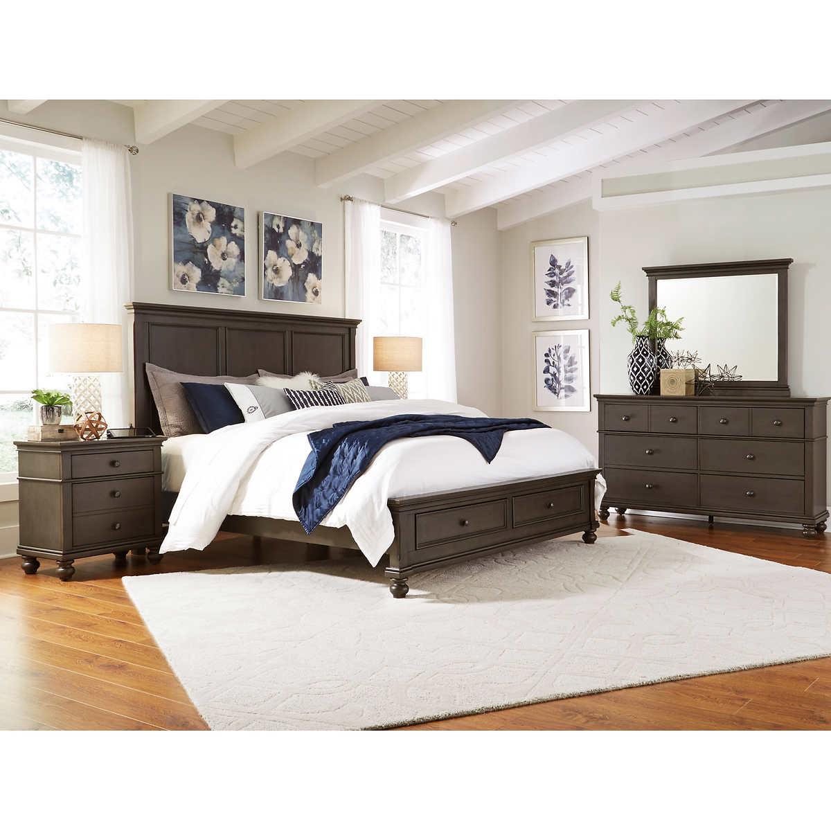 brookdale 5 piece cal king storage bedroom set grey