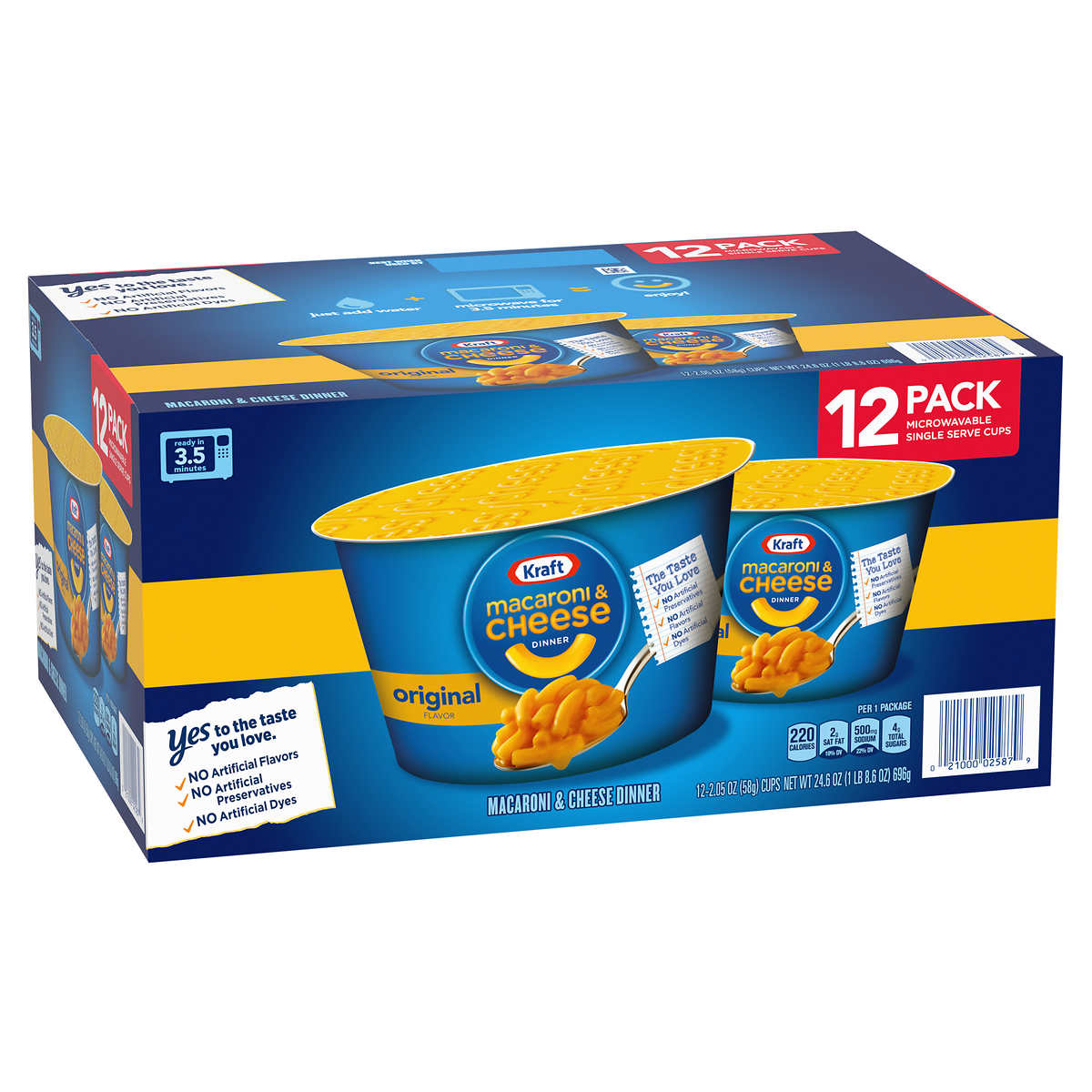 Kraft Macaroni Cheese Dinner Micro Cup 2 05 Oz 12 Count