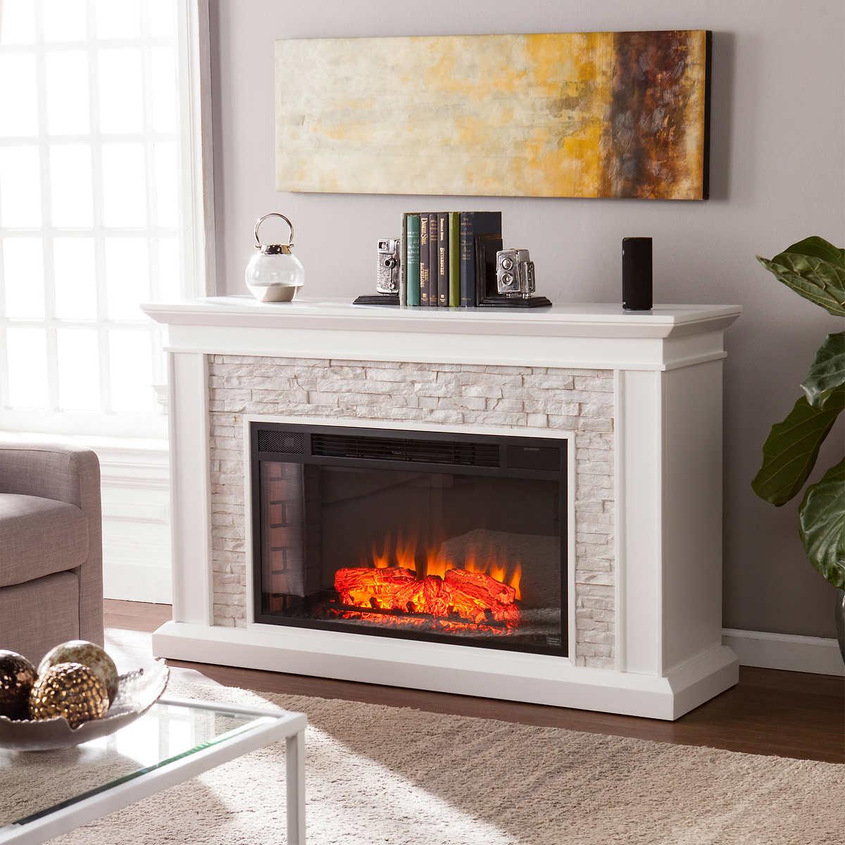 Ledgestone 55 Mantel Led Electric Fireplace White
