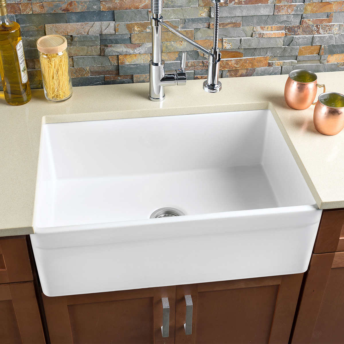 Hahn Fireclay 30 Reversible Farmhouse Sink Costco