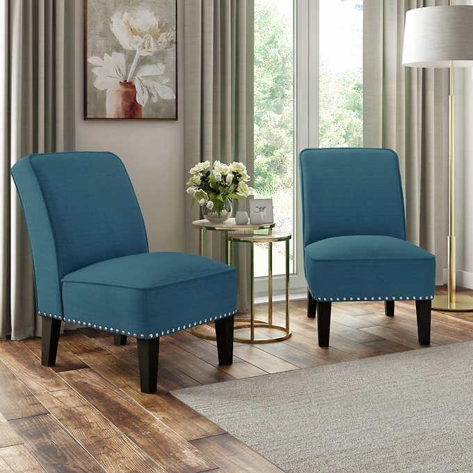 Wallis Fabric Slipper Chair 2 Pack
