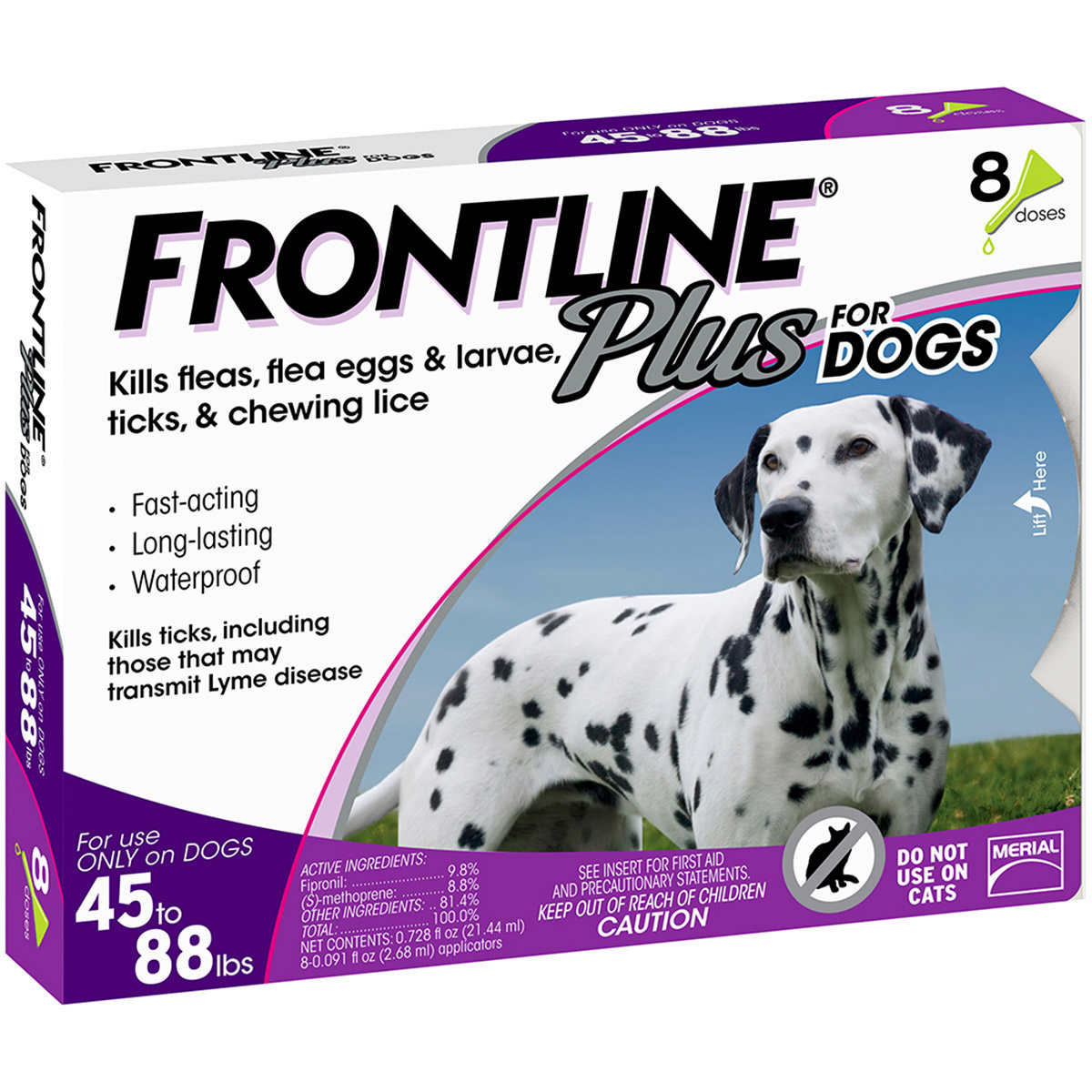 Frontline Plus Dog 45 88 Lb 8 Single Doses