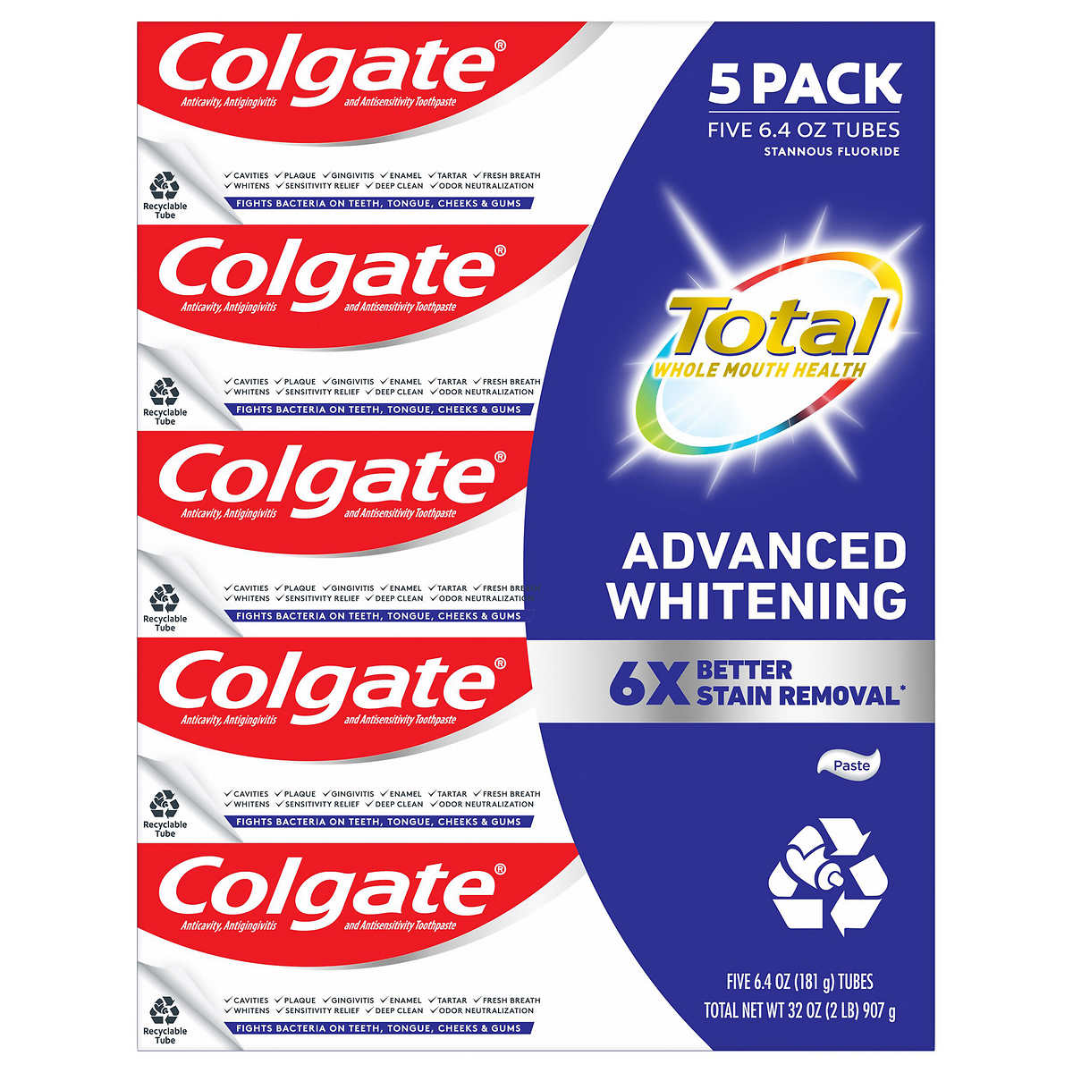 Colgate Total Sf Advanced Whitening Toothpaste 6 4 Oz 5 Pack