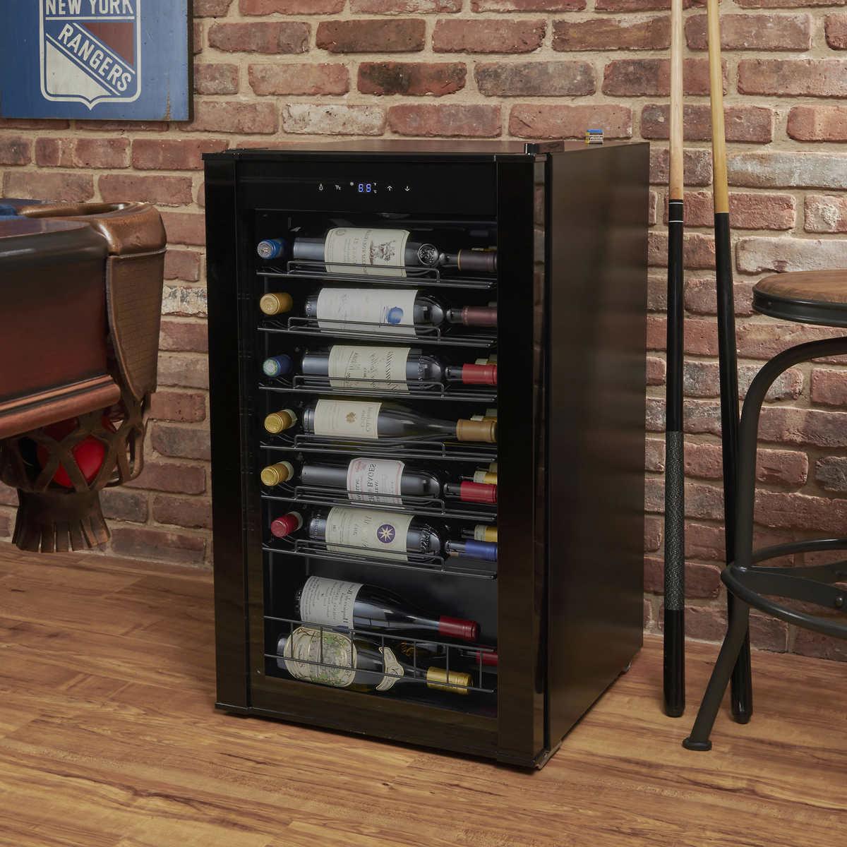 Wine Enthusiast Vinoview 36 Bottle Black Stainless Steel Wine Cellar
