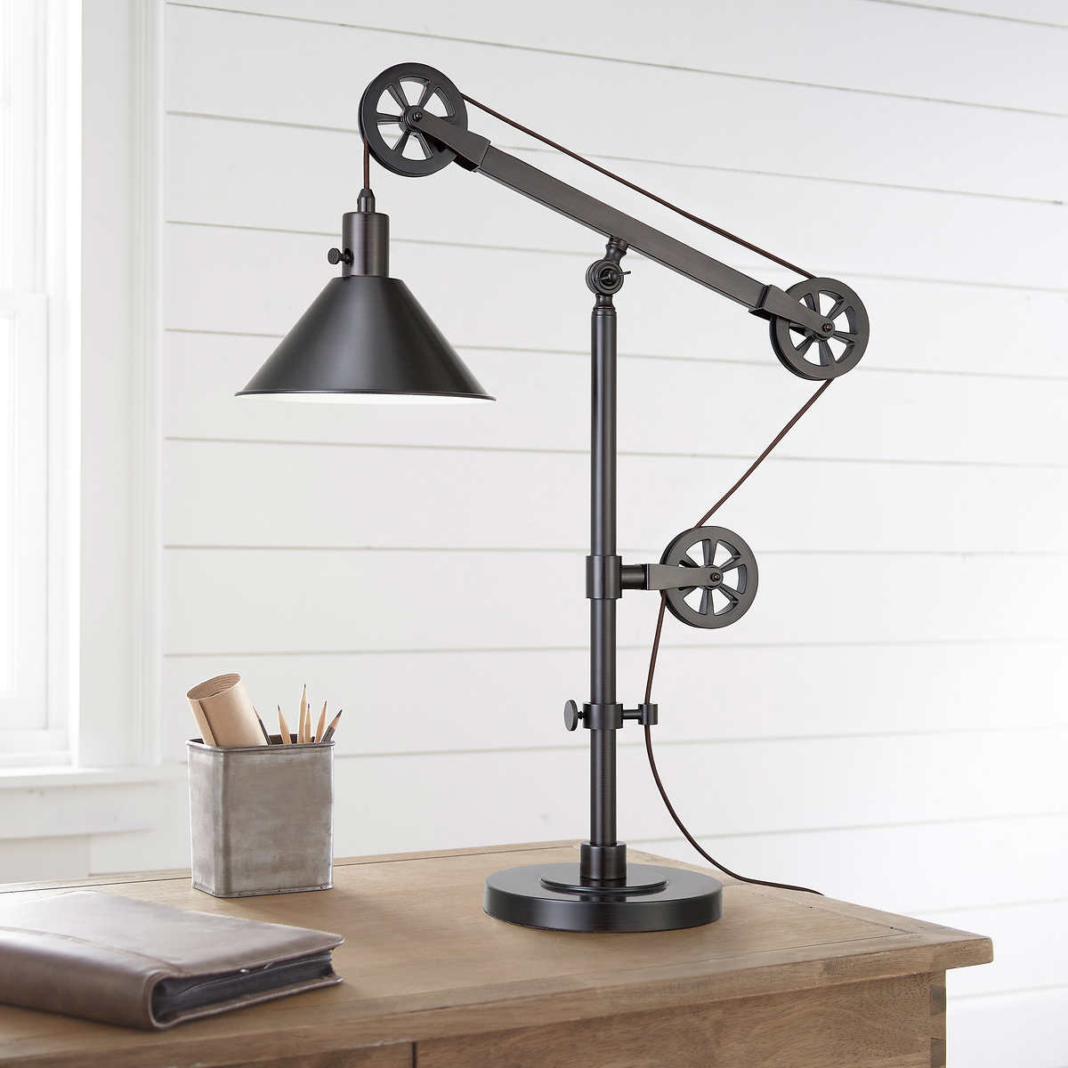 diy decorative ladder out of bamboo poles backyard x.htm industrial pulley table lamp  industrial pulley table lamp