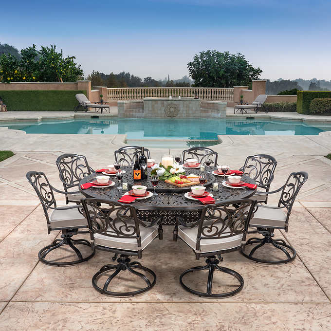 San Paulo 9 Piece Dining Set Costco, Round Outdoor Dining Table With Lazy Susan