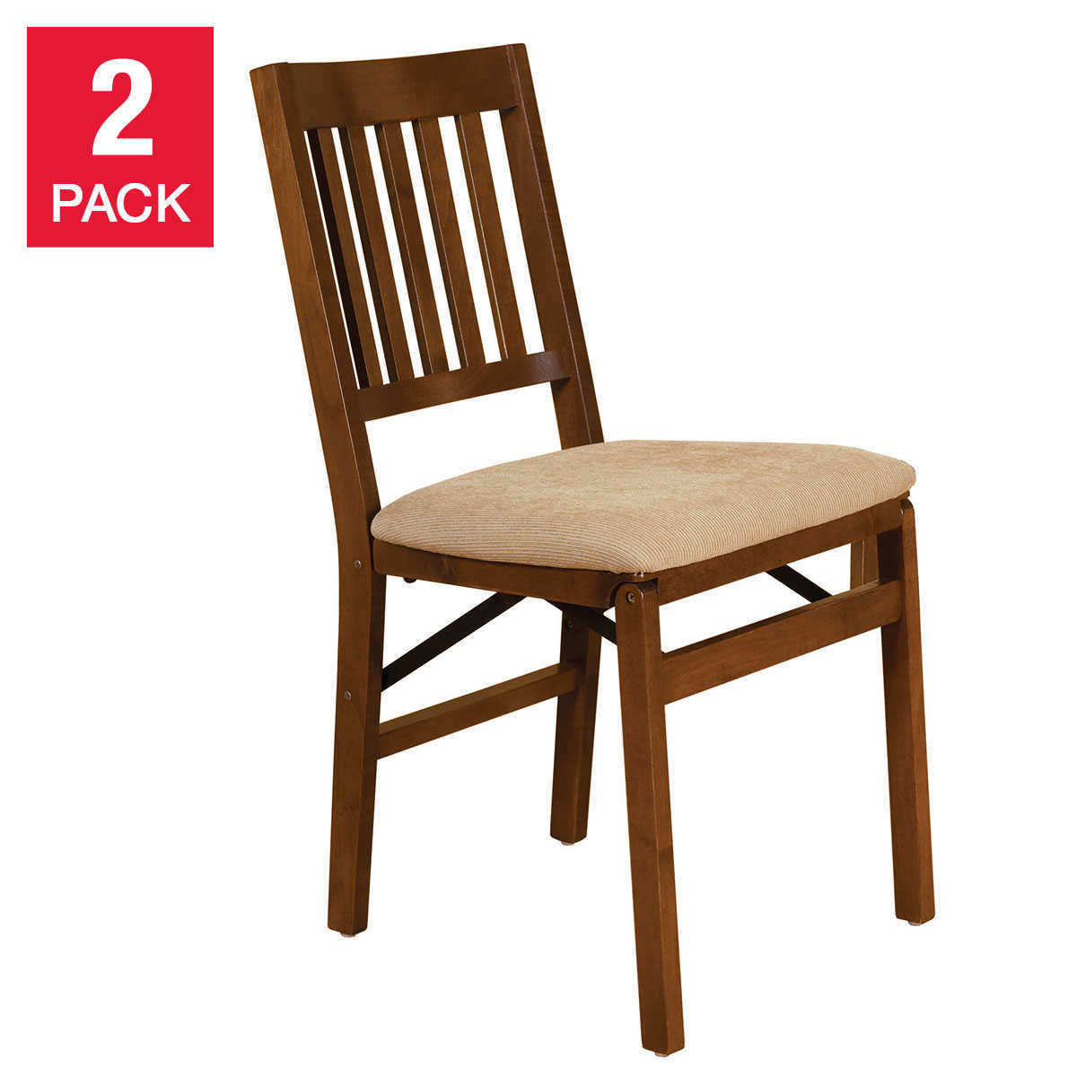 Stakmore Solid Wood Upholstered Folding Chair Fruitwood Finish 2pk