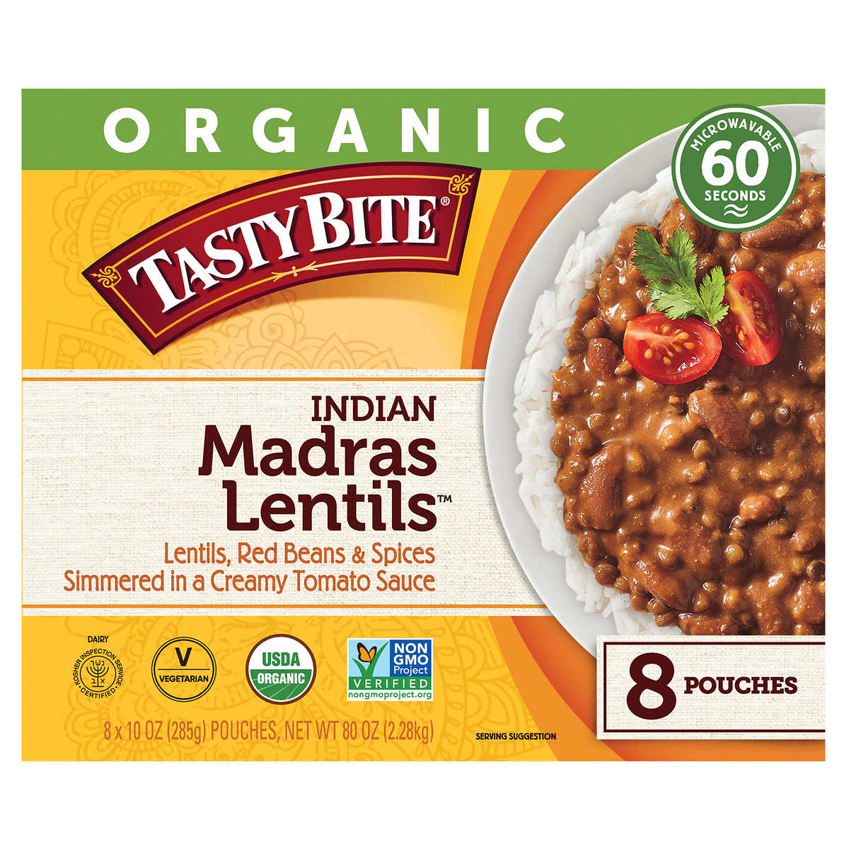 Organic Tasty Bite Madras Lentils 10 Oz 8 Count