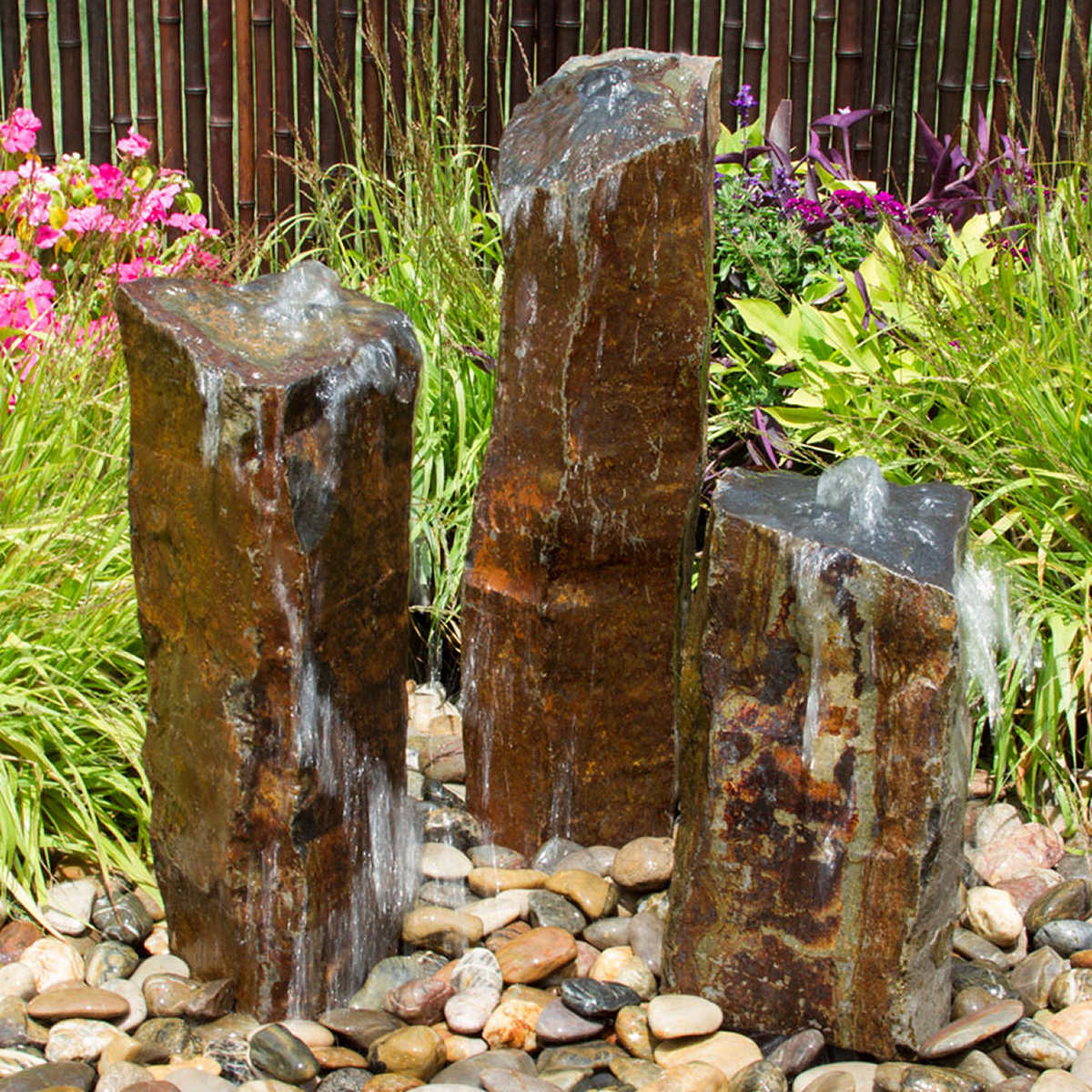 Triple Basalt Stone Column Fountains