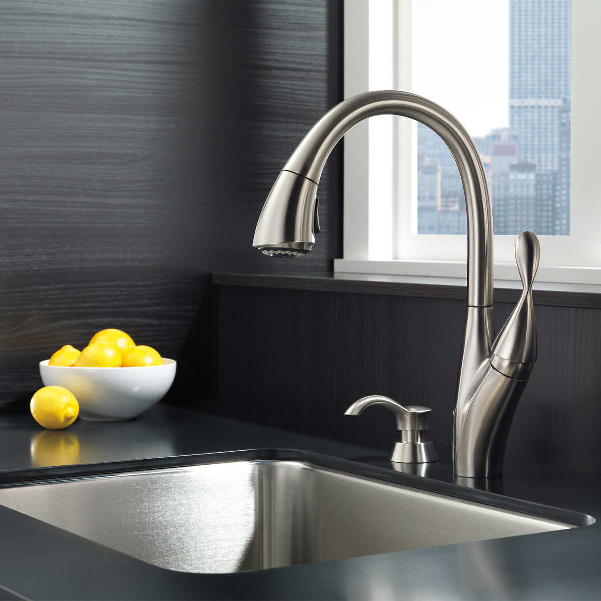Delta Berkley Pulldown Kitchen Faucet And Soap Dispenser