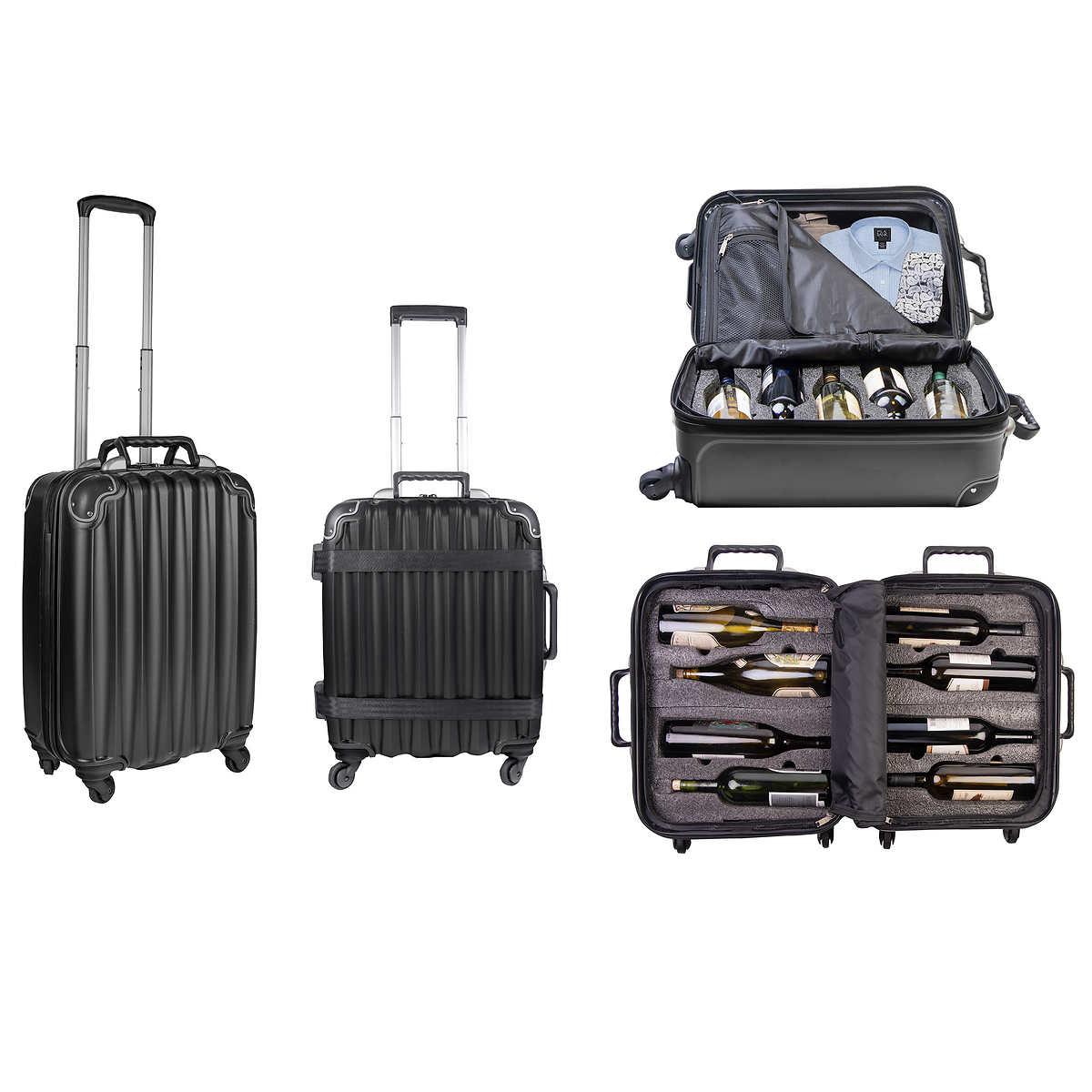 VinGardeValise 2-piece Hardside Wine Carrier Luggage Spinner Set