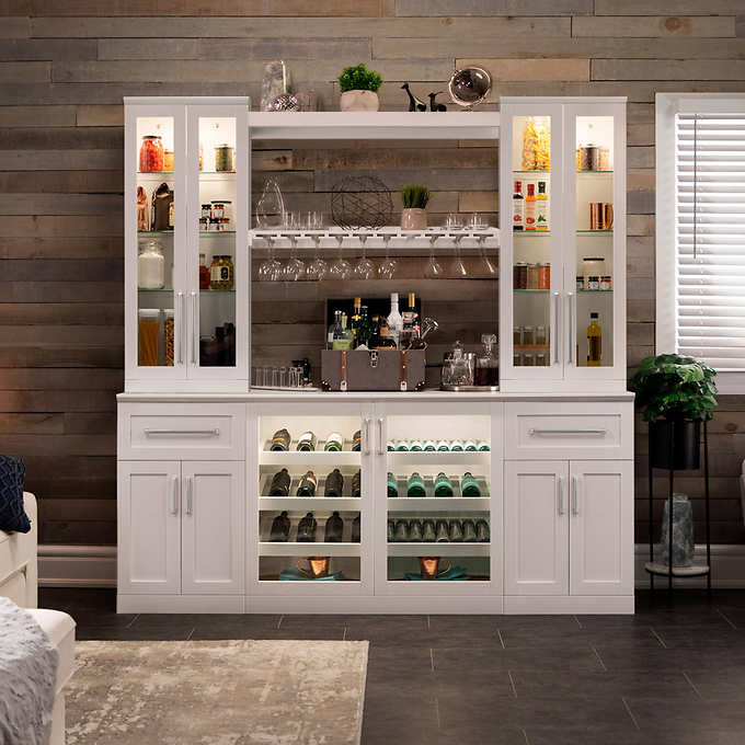Home Wine Bar Cabinet 8 Piece Set With Display And Stemware Shelves By Newage Products Costco