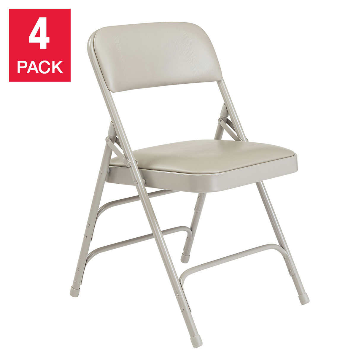 National Public Seating Vinyl Upholstered Folding Chairs 4 Pack