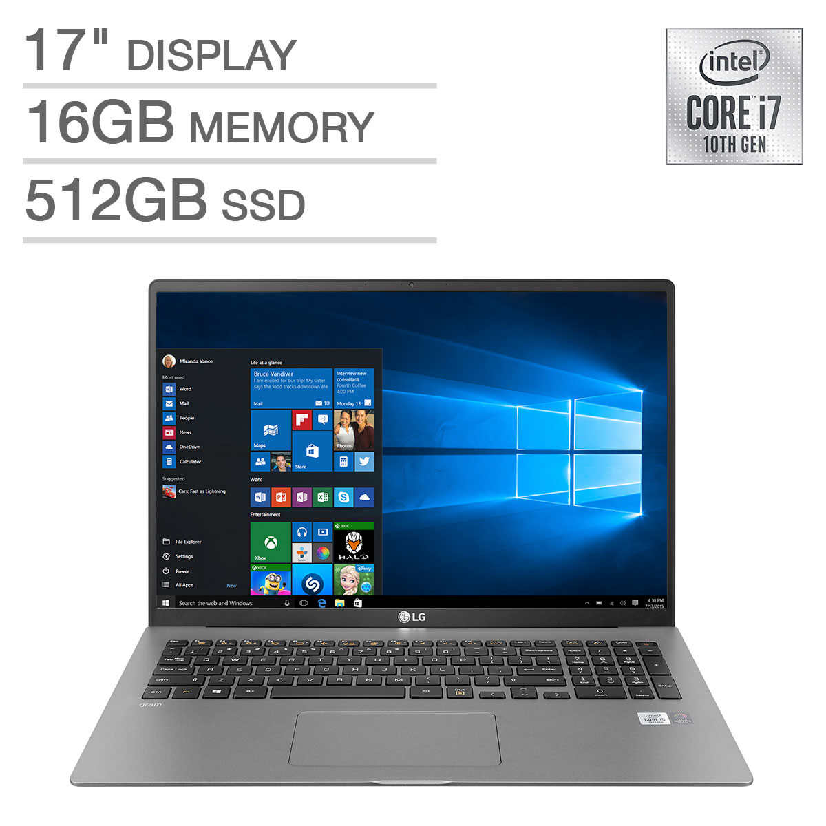 Lg Gram 17 In Laptop 10th Gen Intel Core I7 16gb Ram 512gb Ssd