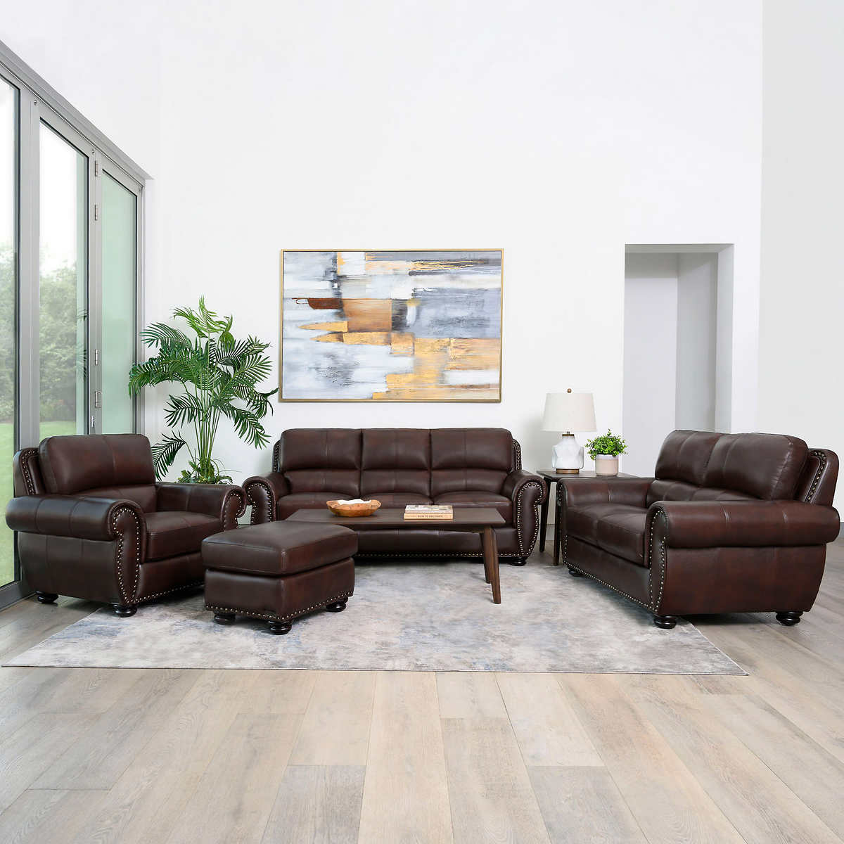 Austin 10-piece Top Grain Leather Living Room Set