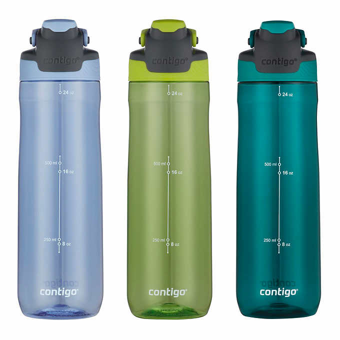 Leak-Proof Water Bottles 24oz Contigo 3 Pack