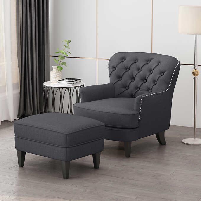 Caleb Fabric Chair Ottoman