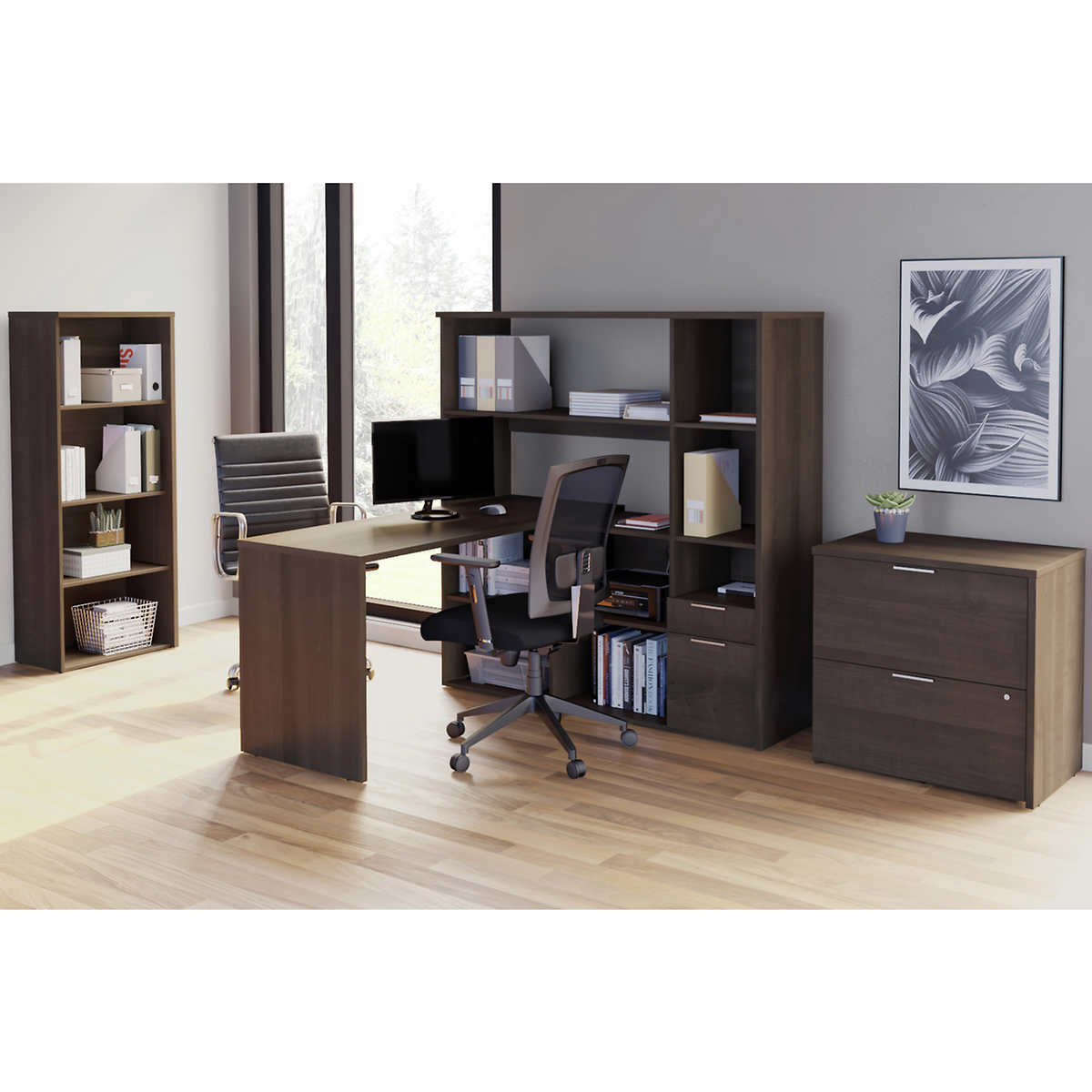 Rayel 32-piece L-Shape Desk with Bookcase and Lateral File Cabinet