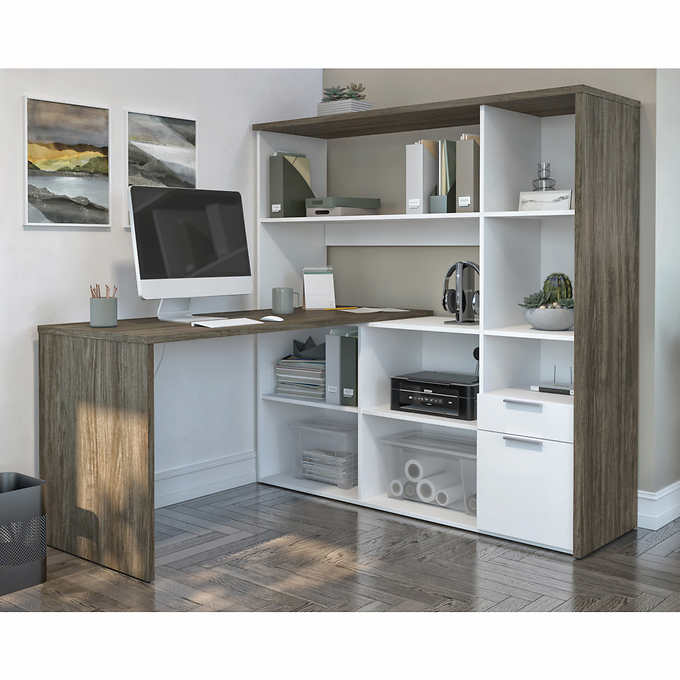 Rayel L Shape Desk With Hutch