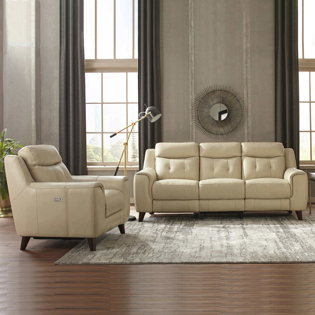 Campania 2 Piece Leather Power Reclining Set With Power Headrests Sofa Recliner
